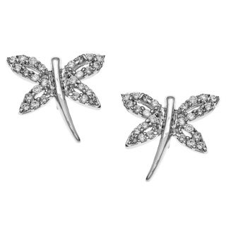Kate Bissett Silvertone Clear Cubic Zirconia Dragonfly Earrings