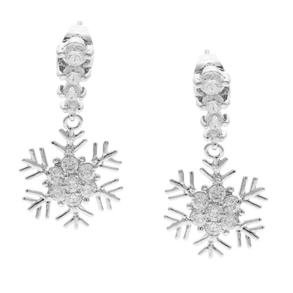Kate Bissett Silvertone Cubic Zirconia Snowflake Drop Earrings