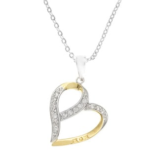 Kate Bissett Two-tone Clear Cubic Zirconia 'Mom' Engraving Heart Necklace