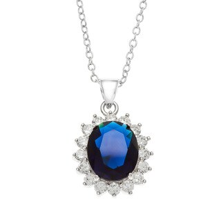 Kate Bissett Rhodium-Plated Oval Synthetic Sapphire Crystal/ Round Cubic Zirconia Trimmed Necklace