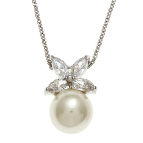 Kate Bissett Silvertone Faux Pearl and Clear Cubic Zirconia Flower Necklace