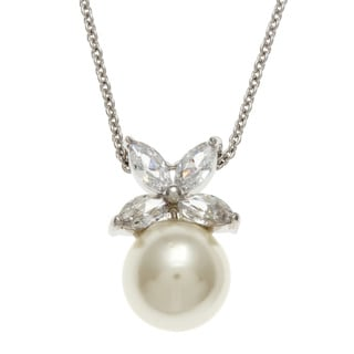 Link to Kate Bissett Silvertone Faux Pearl and Clear Cubic Zirconia Flower Necklace Similar Items in Necklaces