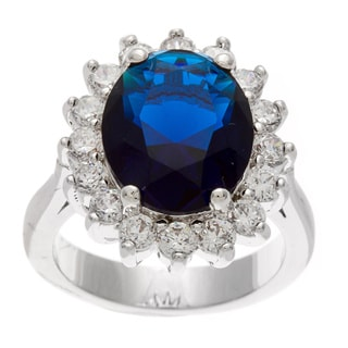 Kate Bissett Silvertone Blue and Clear Cubic Zirconia Engagement-style Ring