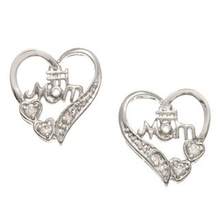 Kate Bissett Silvertone Clear Cubic Zirconia '#1 Mom' Heart Earrings
