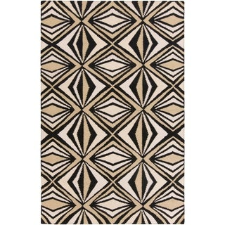 '' Hand-woven Beige Moroccan Tile Wool Rug (5' x 8')