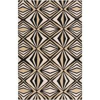 Hand-woven Beige Moroccan Tile Wool Area Rug (5' x 8') - 5' x 8'