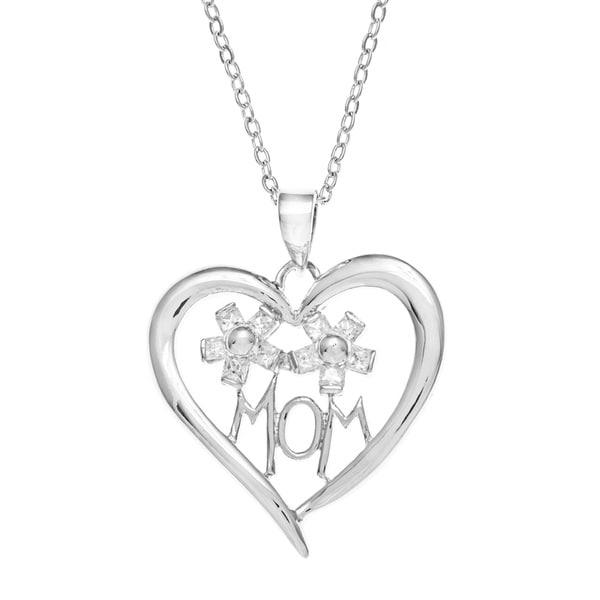 Kate Bissett Rhodium-Plated 'Mom' Heart Cubic Zirconia Pendant