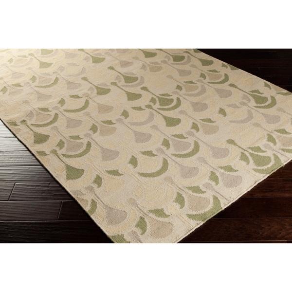Hand-woven Beige Moroccan Tile Wool Area Rug - 5' x 8'