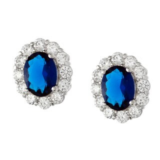 Kate Bissett Silvertone Blue Crystal and Cubic Zirconia Oval Earrings