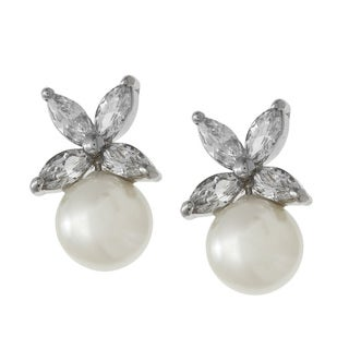 Kate Bissett Silvertone White Shell Pearl and Cubic Zirconia Flower Earrings