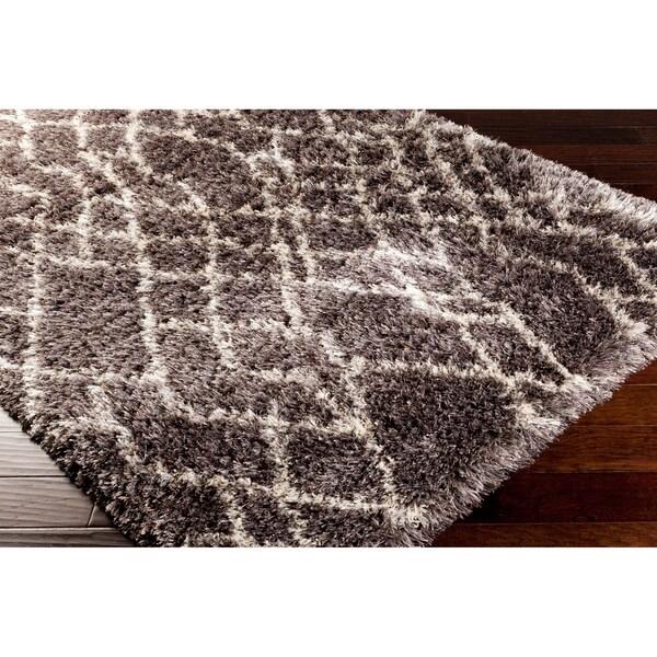 Hand-woven 'Bliss' Brown Geometric Shag Area Rug (5' x 8') - 5' x 8'