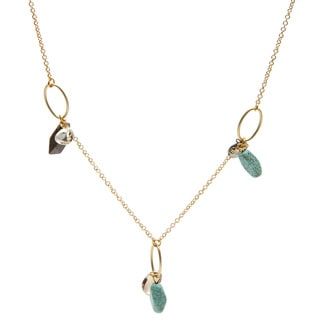Kate Bissett 14k Gold Assorted Stones/ Crystals Dangling Necklace