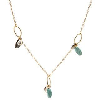 Kate Bissett 14k Gold Assorted Stones/ Crystals Dangling Necklace