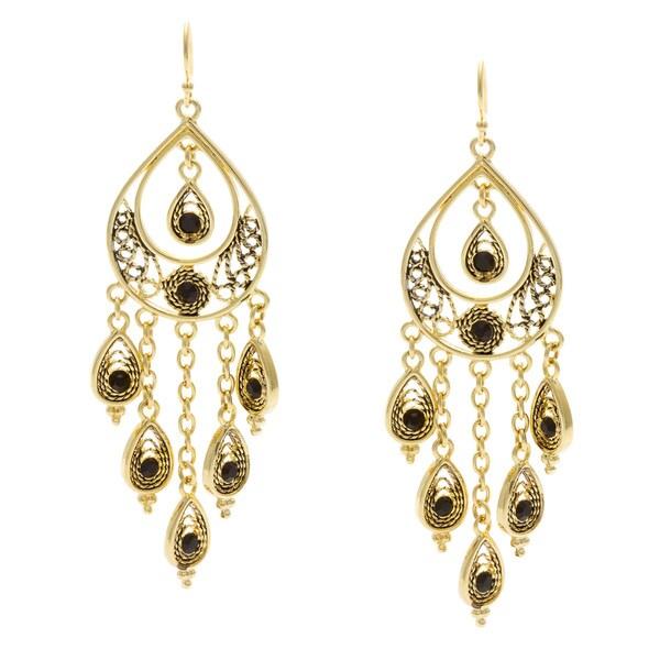Kate Bissett 14k Goldplated Black Crystal and Ink Garnish Peacock Dangle Earrings