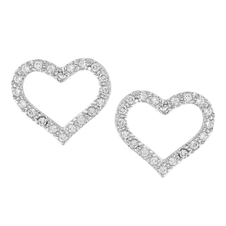 Kate Bissett Silvertone Clear Cubic Zirconia Open Heart Earrings