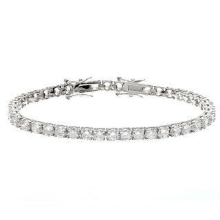 Kate Bissett Silvertone Clear Cubic Zirconia 8-inch Tennis Bracelet