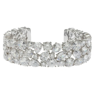 Kate Bissett Silvertone Multi-shape Clear Cubic Zirconia Cuff Bracelet
