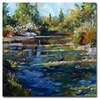 David Lloyd Glover 'Blooming Lily Pond' Canvas Art - Multi