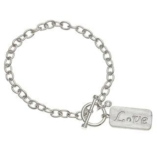 Kate Bissett Silvertone Cubic Zirconia 'Love' Tag 7-inch Charm Bracelet