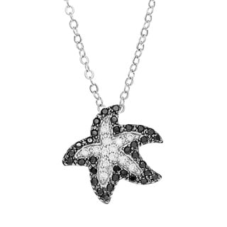 Kate Bissett Silvertone Black and White Cubic Zirconia Starfish Necklace