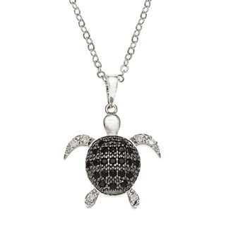Kate Bissett Rhodium-plated Black and White Cubic Zirconia Turtle Necklace