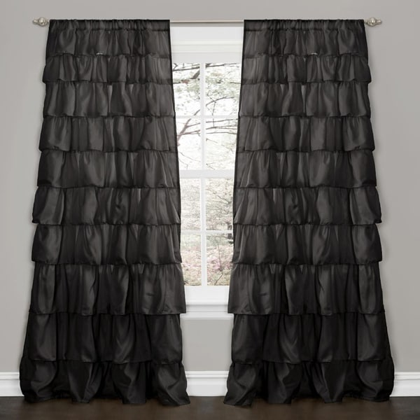 Lush Decor Black 84 Inch Ruffle Curtain Panel Free