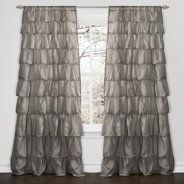 Lush Decor Grey 84 Inch Ruffle Curtain Panel Free