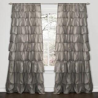 Lush Decor Grey 84-inch Ruffle Curtain Panel