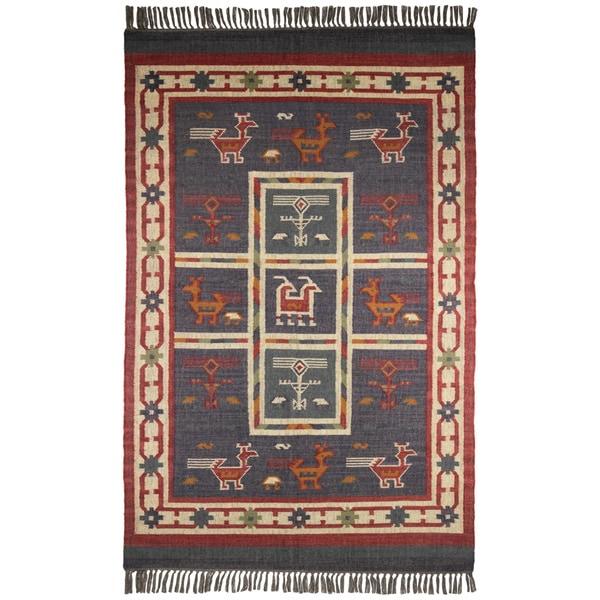 Shop Hand Woven Blue Tribal Print Wool And Jute Rug 5 X