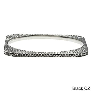 Kate Bissett Silvertone Clear Cubic Zirconia Hammered Square-shaped Bangle Bracelet
