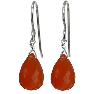Ashanti Sterling Silver Carnelian Briolette Dangle Handmade Earrings (Sri Lanka)
