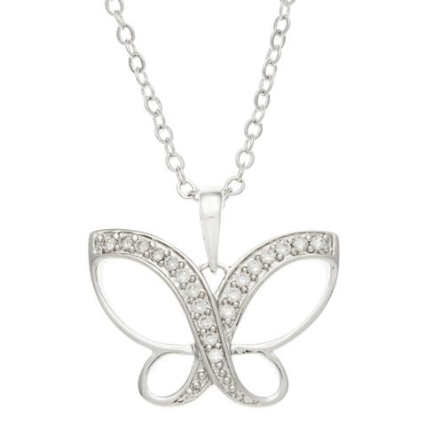 Kate Bissett White Gold Rhodium-Plated Pave Cubic Zirconia Dainty Butterfly Necklace
