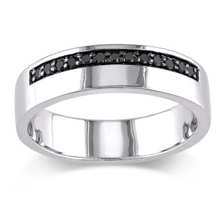 miadora sterling silver mens 15ct tdw black diamond wedding band ring - Silver Wedding Ring
