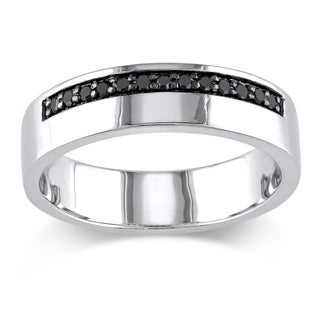 Miadora Sterling Silver Men's 1/5ct TDW Black Diamond Wedding Band Ring (More options available)