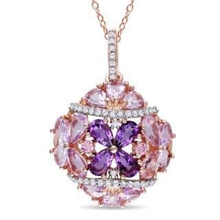 Miadora Rose Plated Silver Multi-gemstone 1/5ct TDW Diamond Necklace