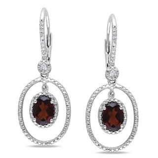 Miadora Sterling Silver Garnet and 1/8ct TDW Diamond Earrings (H-I, I2-I3)