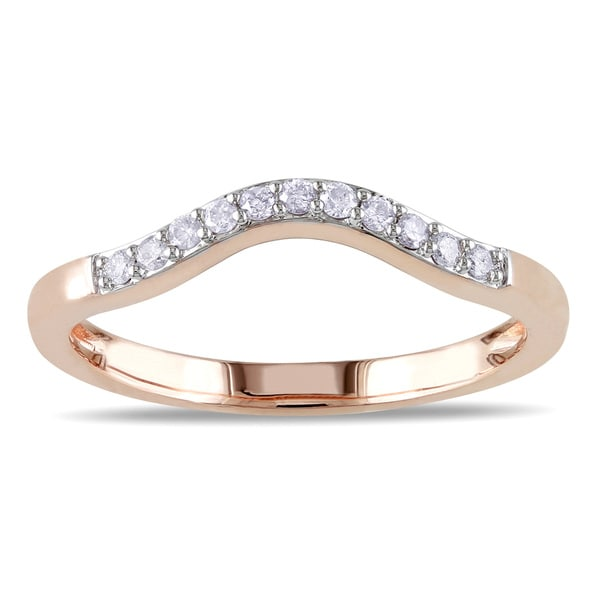 Miadora 10k Rose Gold 1/10ct TDW Curved Diamond Wedding Band (G-H, I2-I3)