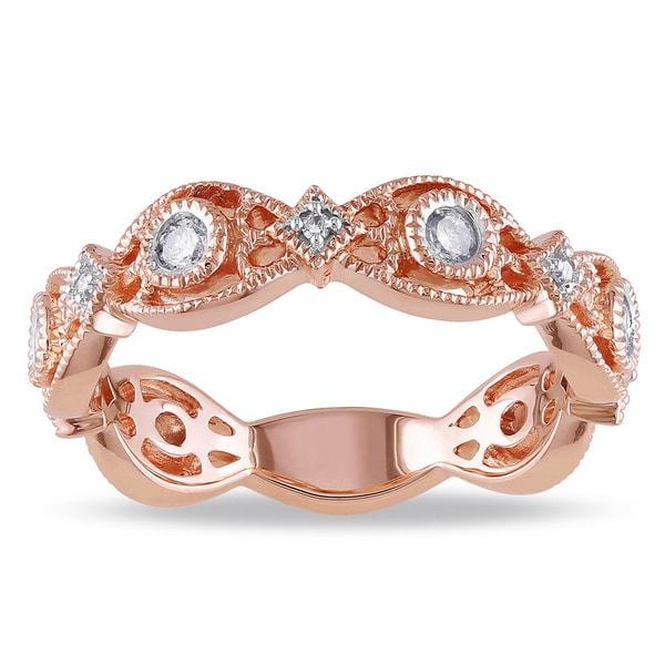 Miadora 14k Rose Gold 1/4ct TDW Diamond Eternity Ring