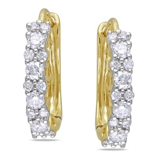 Miadora 14k Yellow Gold 1/2ct TDW Diamond Cuff Earrings (G-H, I1-I2)