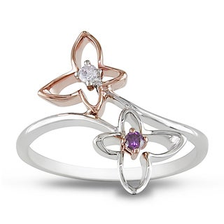 Miadora 10k Two-tone Gold Pink and White Diamond Flower Ring