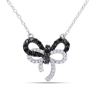 Miadora Sterling Silver 1/3ct TDW Black and White Diamond Bow Necklace