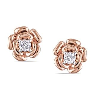 Miadora 10k Rose Gold 1/5ct TDW Diamond Flower Earrings (H-I, I2-I3)
