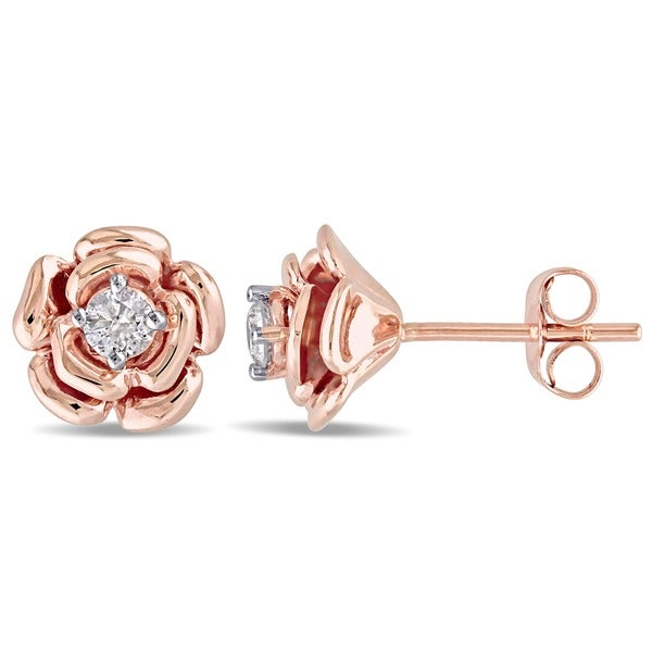 Miadora 10k Rose Gold 1/5ct TDW Diamond Flower Earrings