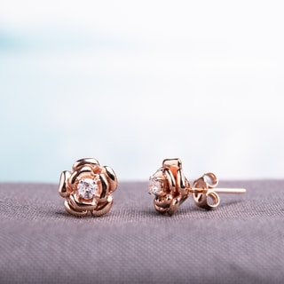 Miadora 10k Rose Gold 1/5ct TDW Diamond Flower Earrings