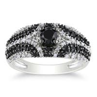 Miadora Sterling Silver 1 1/10ct TDW Black and White Diamond Ring