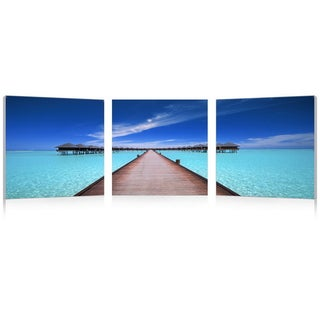 Baxton Studio Overwater Bungalow Mounted Photography Print Triptych - Green