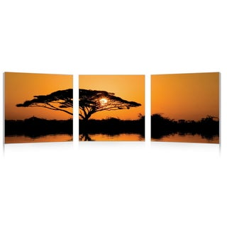 Baxton Studio Savannah Sunset Mounted Photography Print Triptych