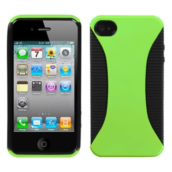 INSTEN Apple Green/ Black Mixy Phone Case Cover for Apple iPhone 4S/ 4