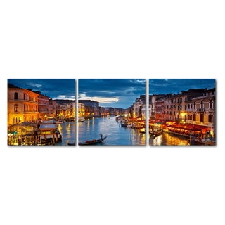 Baxton Studio Early Evening Venetian Canal Mounted Photography Print Triptych