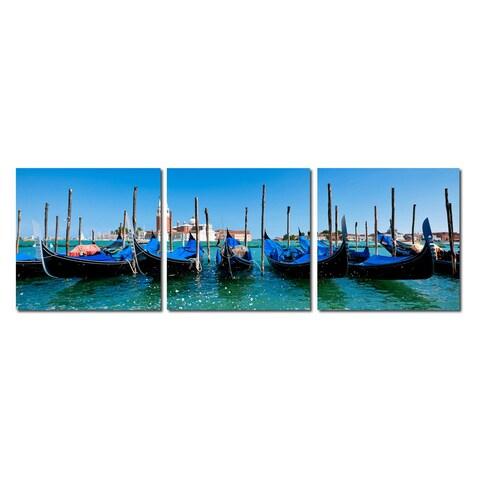 Baxton Studio Gondola Fleet Mounted Photography Print Triptych - Blue